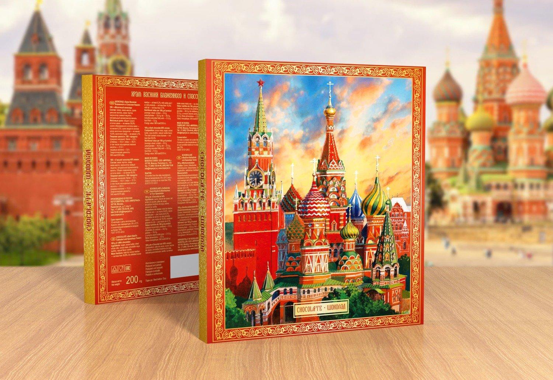 Шоколадный набор «Сбор Василия Блаженного. Акварель»