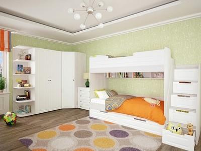 Двухъярусная детская кровать Прага 03 Белое дерево