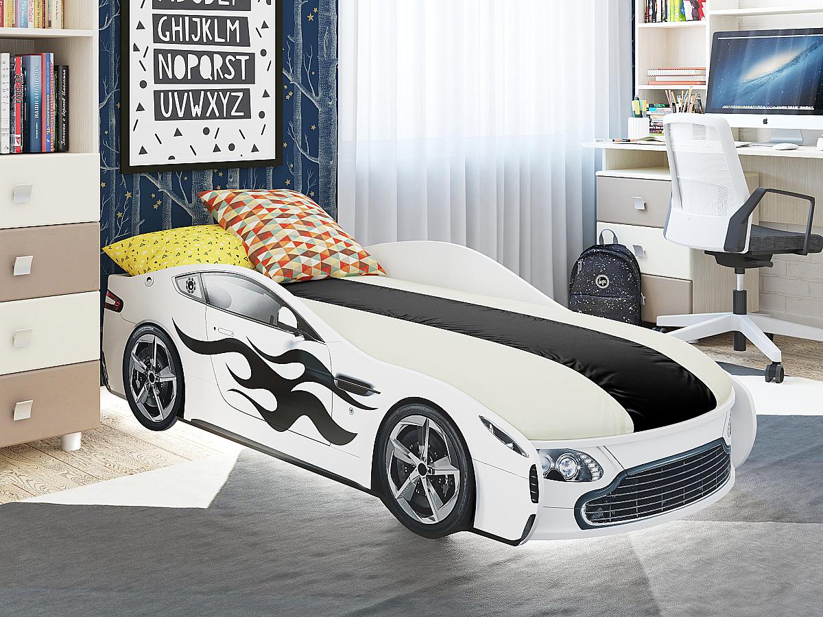 Детская кровать машина Турбо Белая 91830