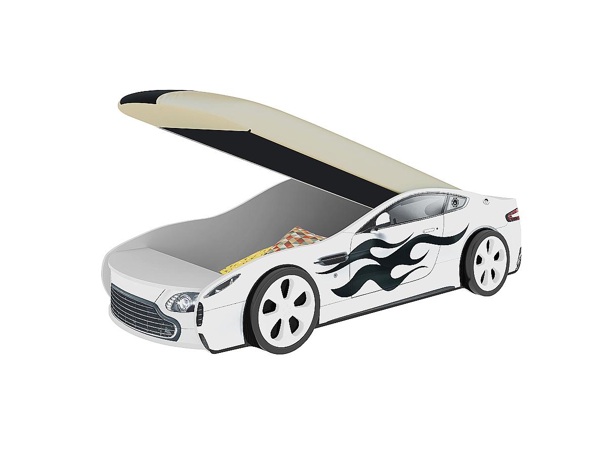 Детская кровать машина Турбо Белая