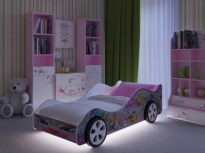 Купить детскую кровать машину Леди Розовая