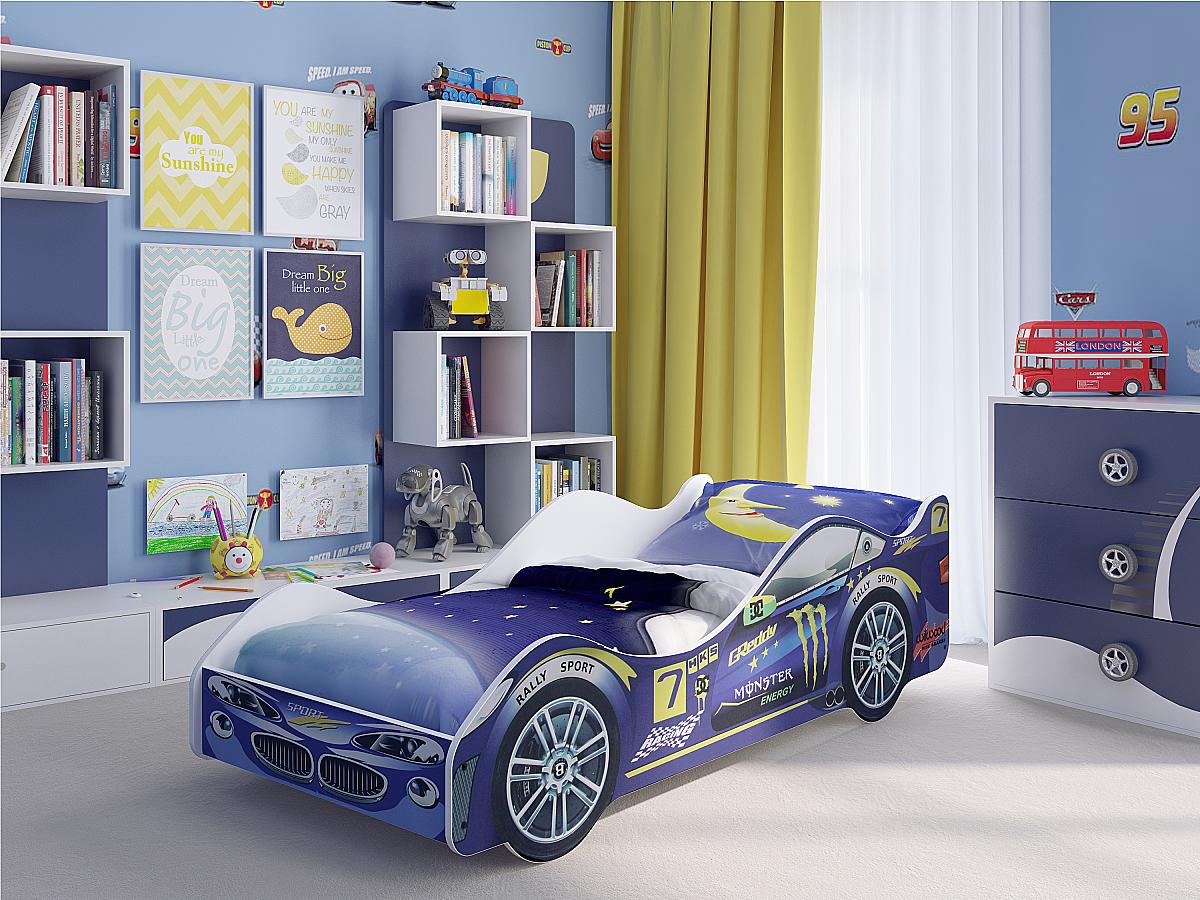 Купить детскую кровать машину Пилот Синяя 91833