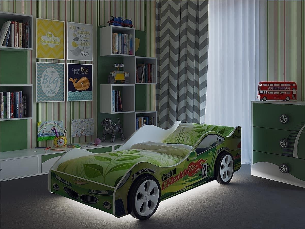 Детская кровать машина Вираж Зеленая