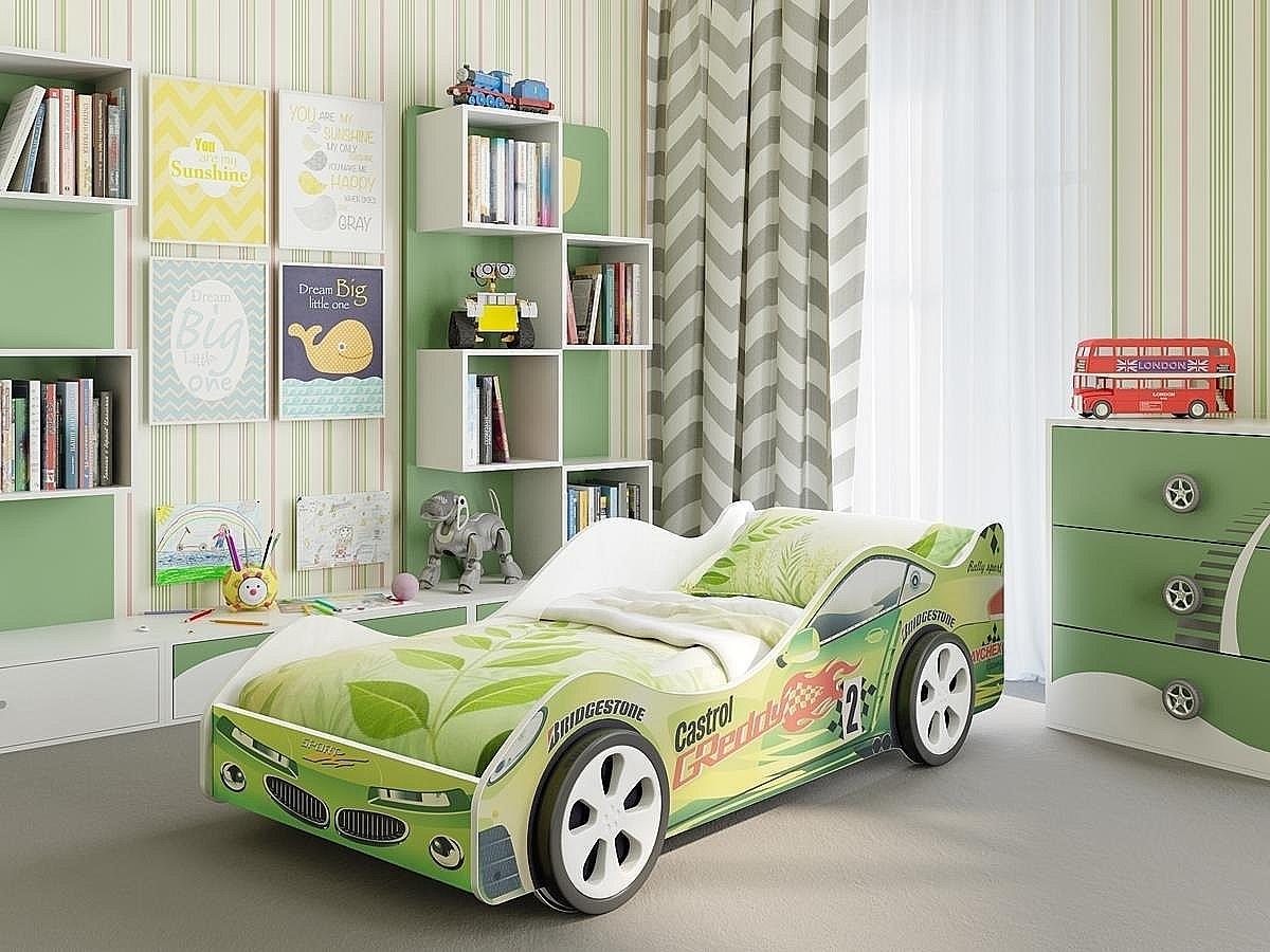 Детская кровать машина Вираж Зеленая 91834
