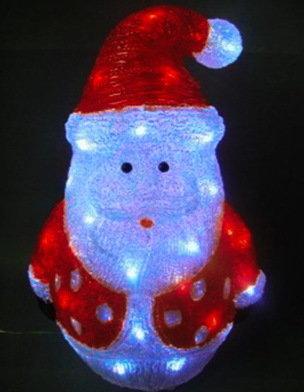 Акриловая Новогодняя светодиодная фигура Санта 40см