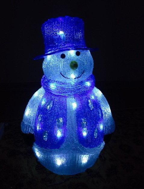 Акриловая светодиодная фигура Снеговик 40см 00605