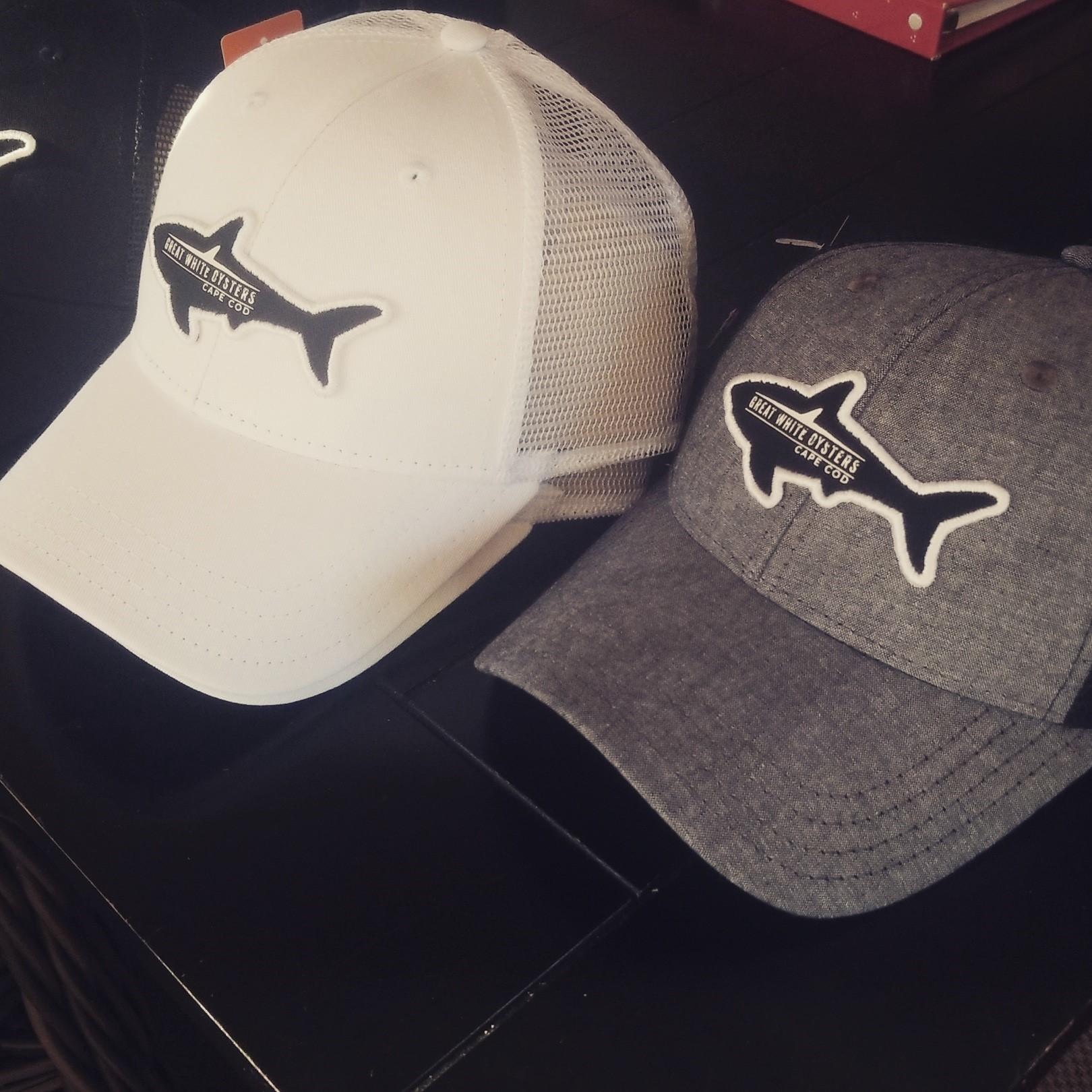 Great White Oyster Hat - Shark Logo - White 00014