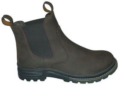 Fritidsstøvle i brunt læder med sikkerhed