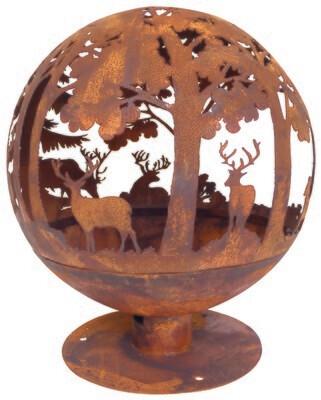 Ild-/bålkugle med udskåret motiv af vildt