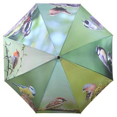 Paraply med print af forskellige fugle