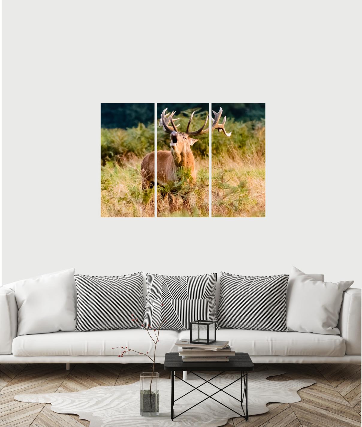 Billede i træ med krondyr i skov 00007