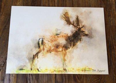 Watercolor billede med dåhjort