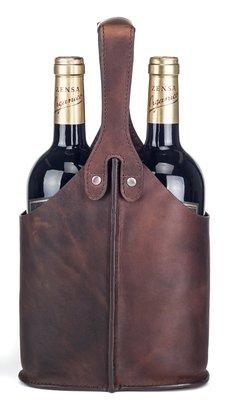 Vinholder i rustikt læder - Til 2 vin