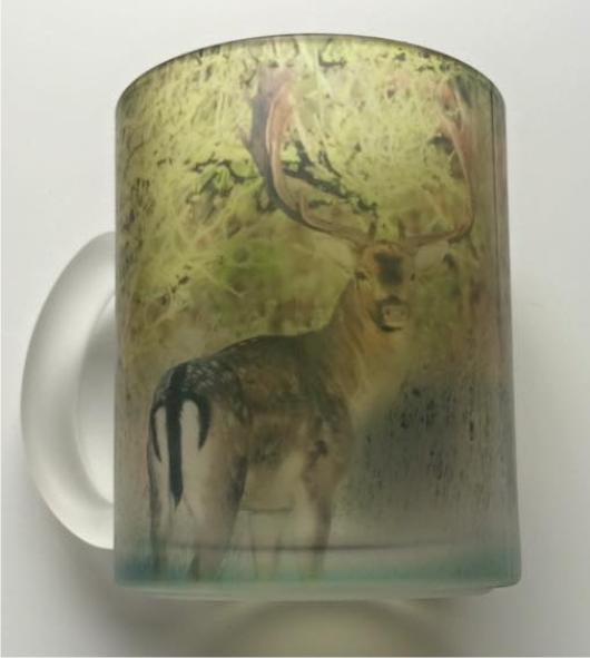 Materet glaskrus med Dåhjort 00219