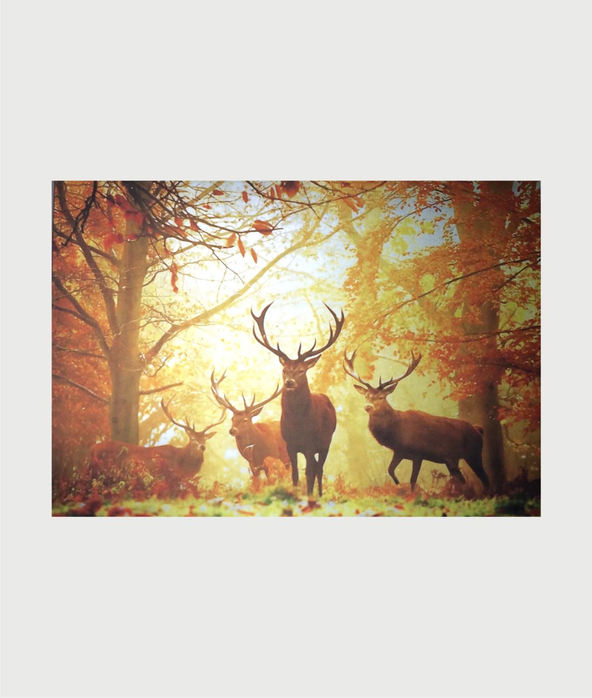 Billede i stål med krondyr i efterårs skov 00023