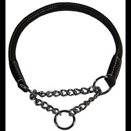 Walker rundsyet læder halsbånd m. halvkvæl - SORT 00445