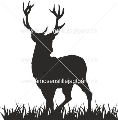 Folie-/Strygemærke - Hjort på græs