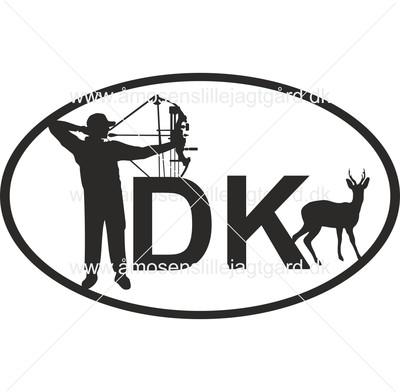 Folie-/Strygemærke - DK mærke m. buejæger