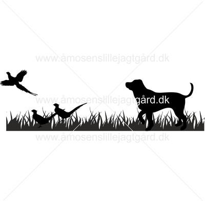 Folie-/Strygemærke - Labrador med fasaner