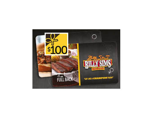Billy Sims Gift Card $100