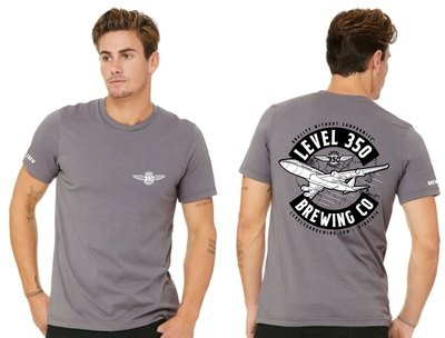 Level 350® Brewing   B747 World on back of shirt Unisex  T Shirt Short Sleeve        Color: Storm