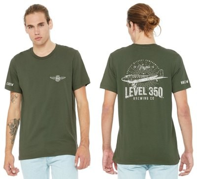 Level 350® Brewing  DC3 VINTAGE Look on back of Shirt Unisex T-shirt Short Sleeve Color: Army Green