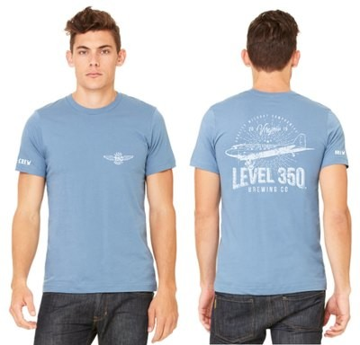 Level 350® Brewing DC3 VINTAGE look on back of shirt Unisex T-shirt Short Sleeve  Color: Steel Blue