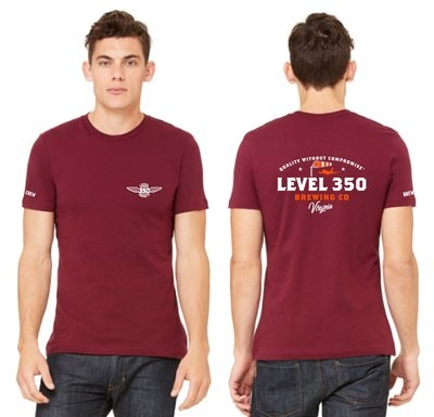 Level 350® Brewing Windsock on back of shirt Unisex T-shirt Short Sleeve  Color: Cardinal Red and Orange