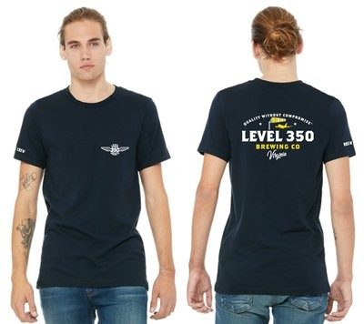 Level 350® Brewing  Windsock on the BACK of shirt Unisex T-shirt Short Sleeve  Color: Maize and Blue