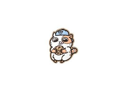 Значок Котик с печенькой
