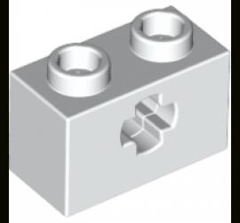 Кирпичик 1X2 с отверстием крестовинного типа (белый)