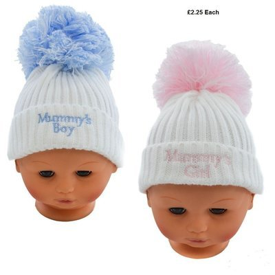 855f2135239 Plain White Hat w  Pom-Pom   Turnover with Embroidery  White Pink