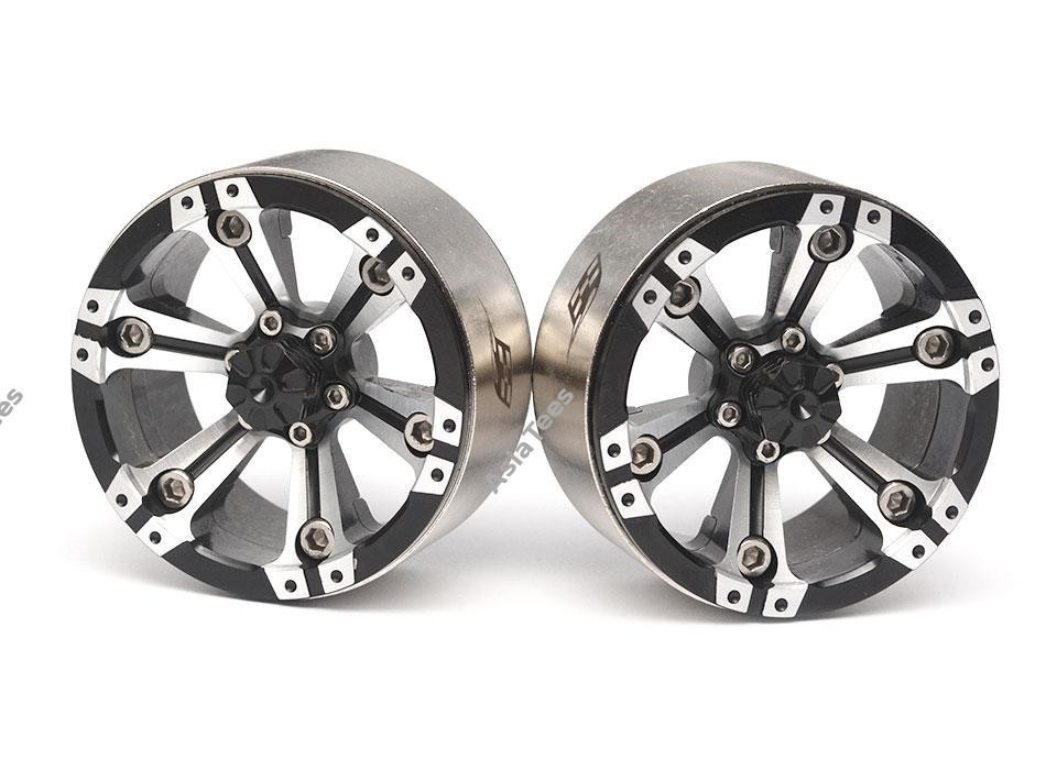 Boom Racing CHROMA™ 1.9 High Mass Beadlock Aluminum Wheels Spoke-6 (2) Style A Black