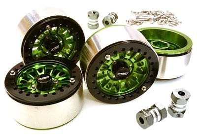 Integy 1.9 Size Machined High Mass Wheel (4) w/14mm Offset Hubs for 1/10 Scale Crawler C27029GREEN