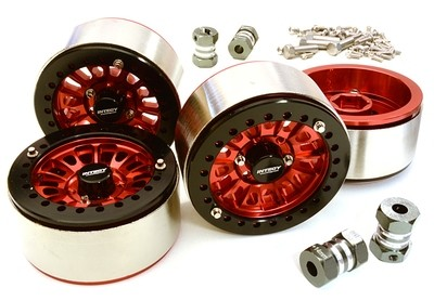 Integy 1.9 Size Machined High Mass Wheel (4) w/14mm Offset Hubs for 1/10 Scale Crawler C27029RED