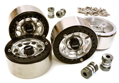 Integy 1.9 Size Machined High Mass Wheel (4) w/14mm Offset Hubs for 1/10 Scale Crawler C27030SILVER