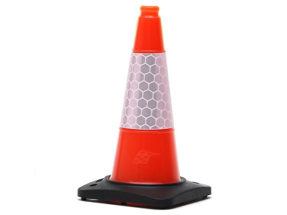 Boom Racing Rubber Traffic Cone w/ Reflective Decal Trail Marker / Track Accessory (4) Orange