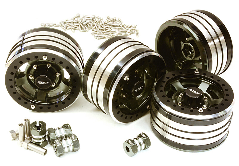 Integy 2.2x1.5-in. Machined High Mass Wheel (4) w/14mm Offset Hubs for 1/10 Crawler (Gunmetal) C27034GUN