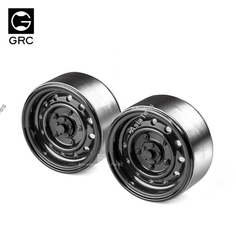 GRC 1.9 12-Hole Metal Classic Beadlock Wheel #Series III (2) Black