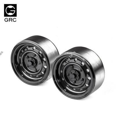 GRC 1.9 12-Hole Metal Classic Beadlock Wheel #Series III (2) Black