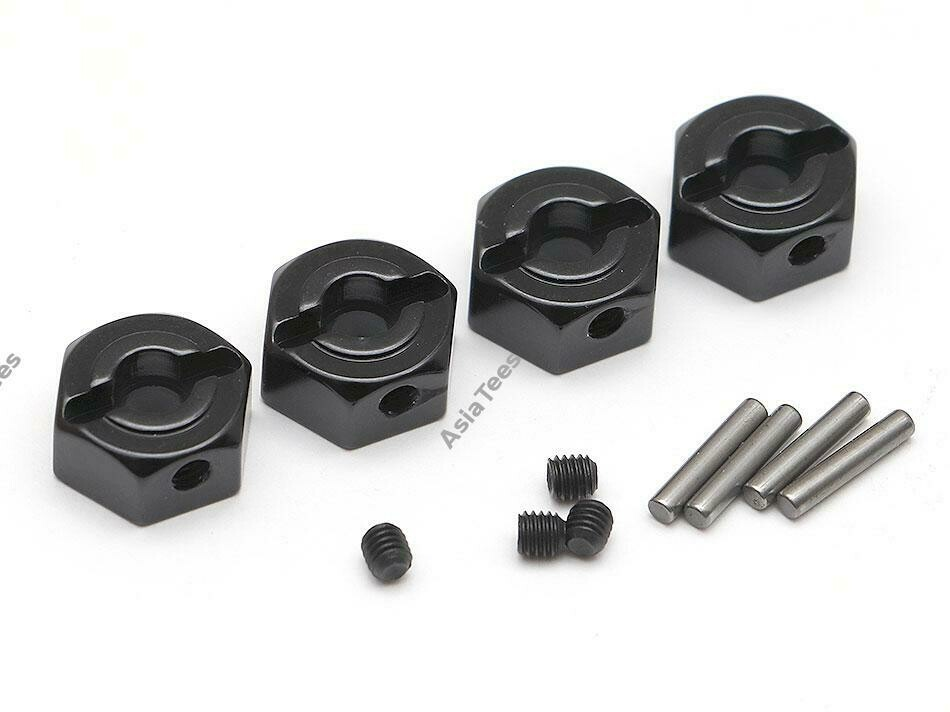 Boom Racing 12mm Standard Aluminum Wheel Hex Adaptors w/ Lock Screws Pins & Screws (4) Black