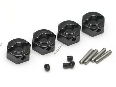 Boom Racing 12mm Standard Aluminum Wheel Hex Adaptors w/ Lock Screws Pins & Screws (4) Black