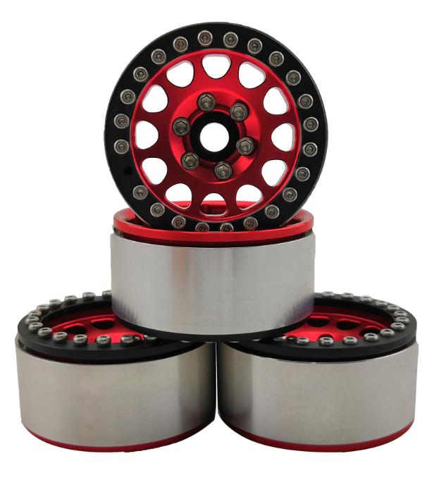 Hobby Details 1.9 Aluminum Beadlock Red w/Black Ring