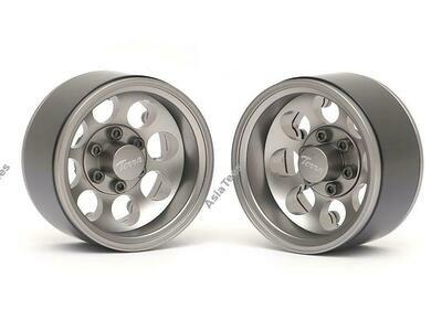 Boom Racing Terra 1.9 Classic 8-Hole Aluminum Deep Dish Beadlock Wheels w/ XT601 Hubs (2) Gun Metal