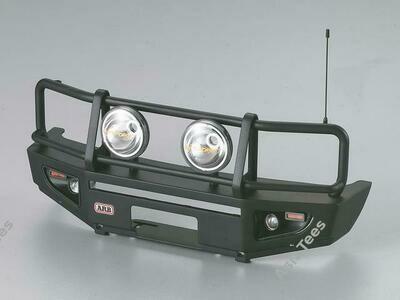 Killerbody ARB 1/10 Aluminum Bull Bar Bumper w/ LED Light Upgrade Set Matt-Black for 1/10 LC70 Truck SUV Bullbar