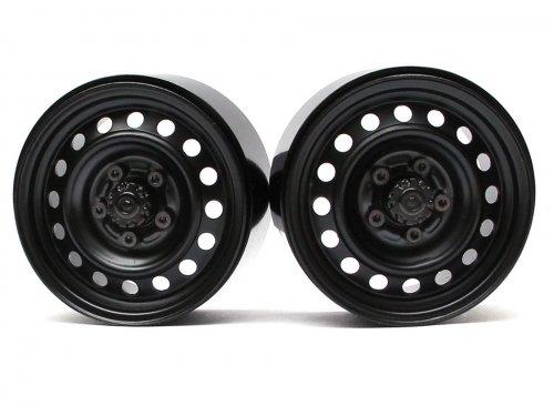 Boom Racing 1.9 Badass Classic 16-Hole Steelie & CNC Aluminum Beadlock Wheels W/ Center Hubs (Front) Black