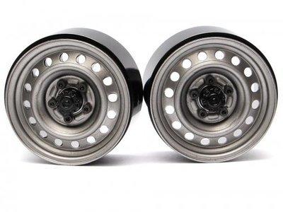Boom Racing 1.9 Badass Classic 16-Hole Steelie & CNC Aluminum Beadlock Wheels W/ Center Hubs (Front) Gun Metal