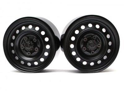 Boom Racing 1.9 Badass Classic 16-Hole Steelie & CNC Aluminum Beadlock Wheels W/ Center Hubs (Rear) Black
