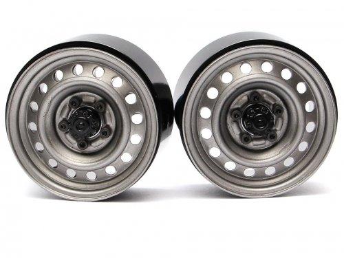 Boom Racing 1.9 Badass Classic 16-Hole Steelie & CNC Aluminum Beadlock Wheels W/ Center Hubs (Rear) Gun Metal