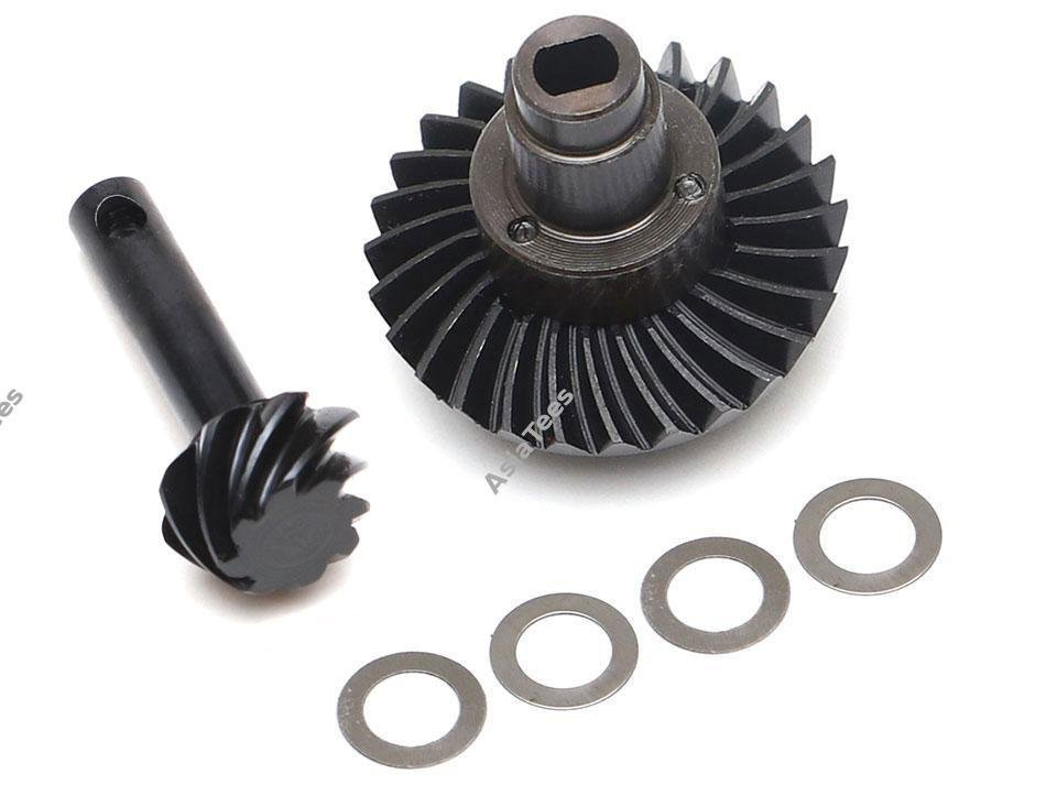 Boom Racing Heavy Duty Keyed Bevel Helical Overdrive Gear 27/8T + Differential Locker Set for AR44 Axle for Axial SCX10 II